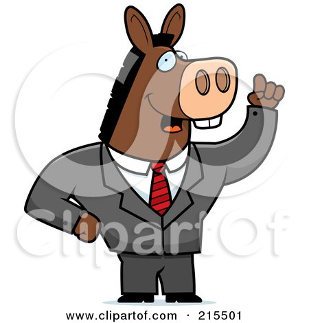 Royalty-Free (RF) Clipart Illustration of a Talking Donkey In A Suit by Cory Thoman