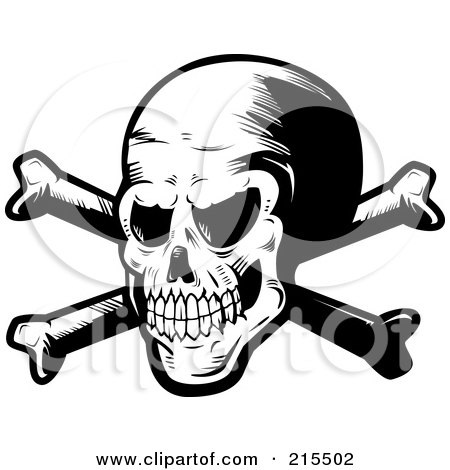 Royalty-Free (RF) Clipart Illustration of a Skull And Crossed ...