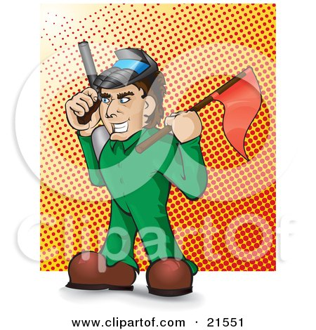 Mischievous Caucasian Man In A Green Suit, Holding A Red Flag And A Paintball Gun During A Game Posters, Art Prints