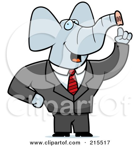 Royalty-Free (RF) Clipart Illustration of a Talking Elephant In A Suit by Cory Thoman