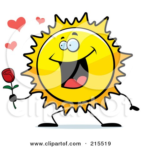 Royalty-Free (RF) Clipart Illustration of a Romantic Sun Presenting A Rose by Cory Thoman