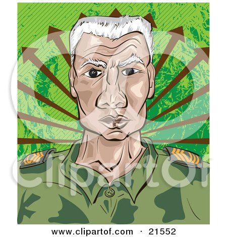 Clipart Illustration of a Senior Military Drill Sergeant In A Green Camo Uniform, Facing Front With A Stern Expression by Paulo Resende