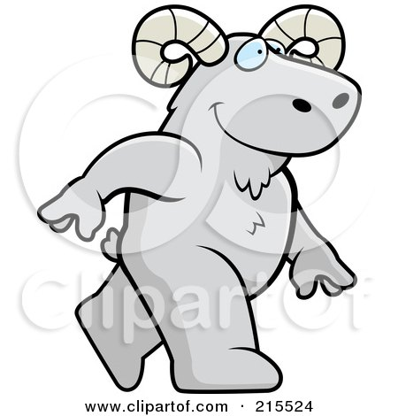 Royalty-Free (RF) Clipart Illustration of a Ram Walking Upright by Cory Thoman