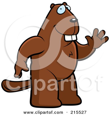 Royalty-Free (RF) Clipart Illustration of a Friendly Beaver Standing On His Hind Legs And Waving by Cory Thoman