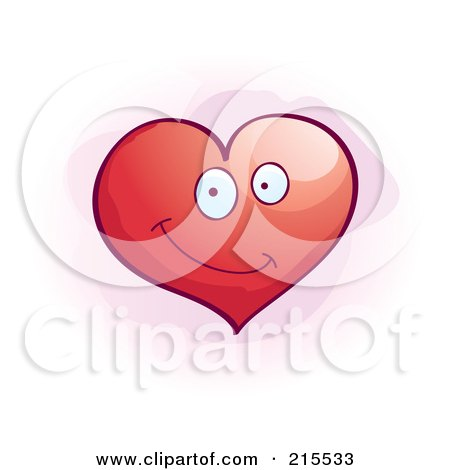 Royalty-Free (RF) Clipart Illustration of a Cute Smiling Red Heart by Cory Thoman