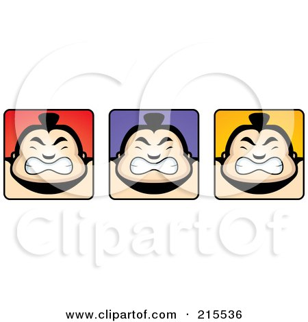 Royalty-Free (RF) Clipart Illustration of a Digital Collage Of Sumo Guy Faces by Cory Thoman