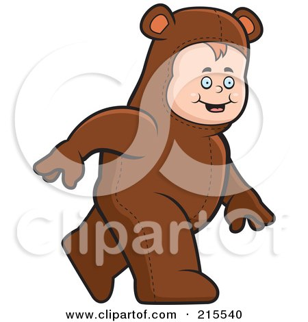 Royalty-Free (RF) Clipart Illustration of a Toddler Walking In A Bear Costume by Cory Thoman
