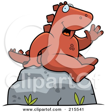 Royalty-Free (RF) Clipart Illustration of a Friendly Dinosaur Sitting And Waving by Cory Thoman