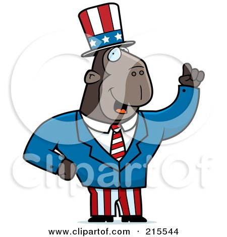 Royalty-Free (RF) Clipart Illustration of an Uncle Sam Ape In A Suit by Cory Thoman