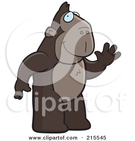 Royalty-Free (RF) Clipart Illustration of a Friendly Ape Standing On His Hind Legs And Waving by Cory Thoman