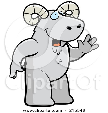 Royalty-Free (RF) Clipart Illustration of a Friendly Ram Standing On His Hind Legs And Waving by Cory Thoman