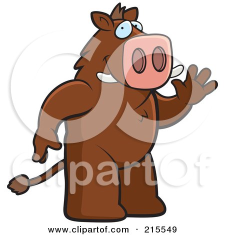 Royalty-Free (RF) Clipart Illustration of a Friendly Boar Standing On His Hind Legs And Waving by Cory Thoman