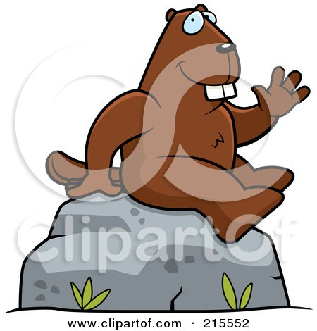 Royalty-Free (RF) Clipart Illustration of a Friendly Beaver Sitting And Waving by Cory Thoman