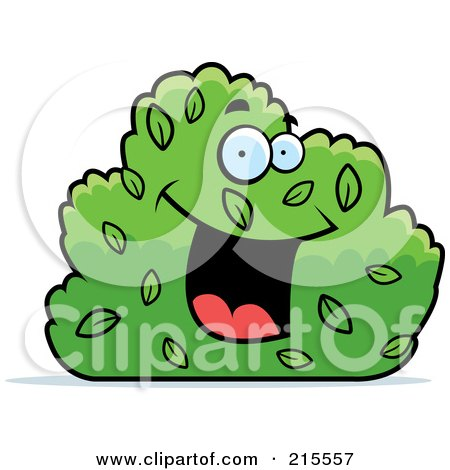 Royalty-Free (RF) Clipart Illustration of a Happy Smiling Shrub Character by Cory Thoman