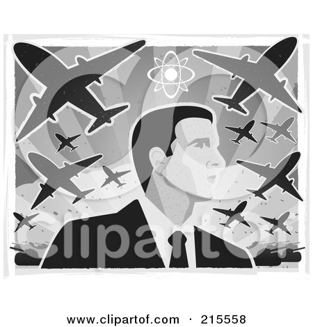 Royalty-Free (RF) Clipart Illustration of a Businessman Under War Planes by Cory Thoman