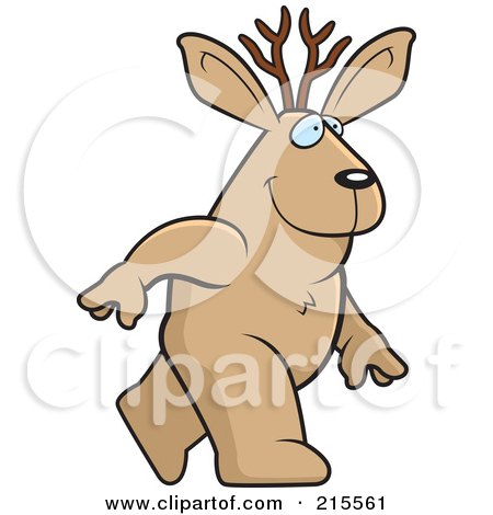 Royalty-Free (RF) Clipart Illustration of a Jackalope Walking Upright by Cory Thoman