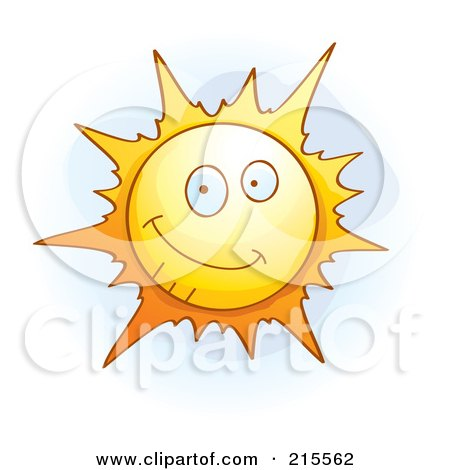 Royalty-Free (RF) Clipart Illustration of a Cute Smiling Sun by Cory Thoman