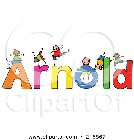 Royalty-Free (RF) Clipart Illustration of a Childs Sketch Of Boys Playing On The Name Arnold by Prawny