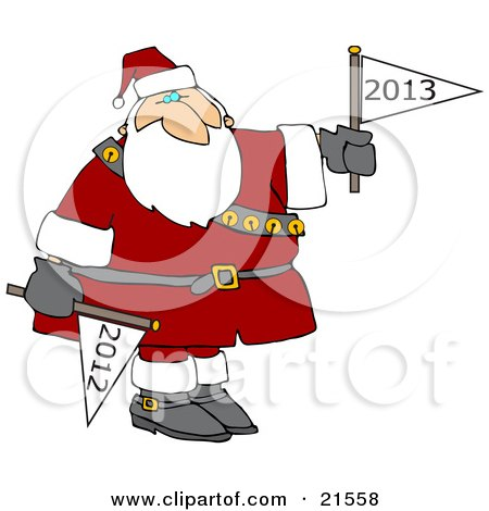 Clipart Illustration of Santa Claus Holding a Year 2011 Flag Down and a Year 2012 Flag Up For New Years by djart