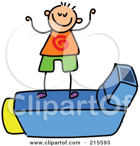 Royalty-Free (RF) Clipart Illustration of a Childs Sketch Of A Boy On An Asthma Inhaler by Prawny