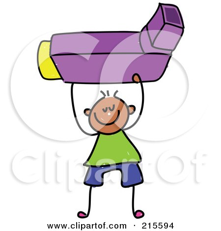 Royalty-Free (RF) Clipart Illustration of a Childs Sketch Of A Boy Holding An Asthma Inhaler by Prawny
