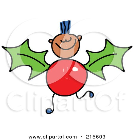 Royalty-Free (RF) Clipart Illustration of a Childs Sketch Of A Boy With A Holly Body by Prawny