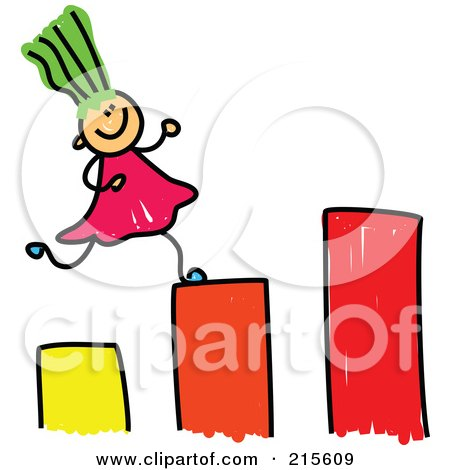 Royalty-Free (RF) Clipart Illustration of a Childs Sketch Of A Girl Running Up A Bar Graph by Prawny
