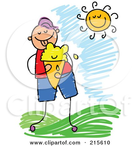 Royalty-Free (RF) Clipart Illustration of a Childs Sketch Of A Boy Eating Ice Cream Outside by Prawny