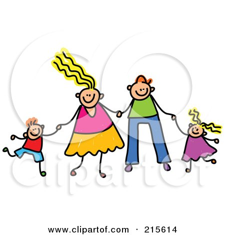 Royalty-Free (RF) Clipart Illustration of a Childs Sketch Of A Happy Caucasian Family Holding Hands by Prawny