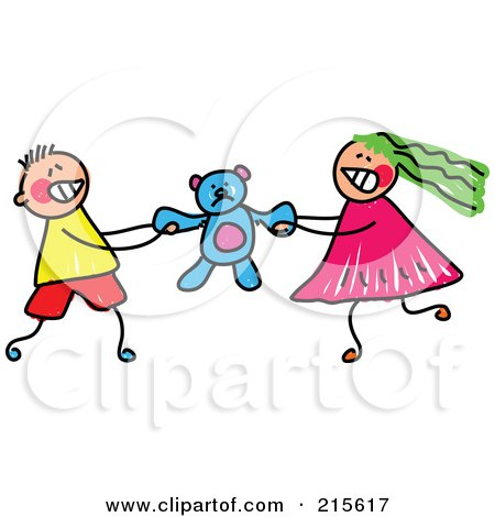 Royalty-Free (RF) Clipart Illustration of a Childs Sketch Of A Boy And Girl Fighting Over A Teddy Bear by Prawny