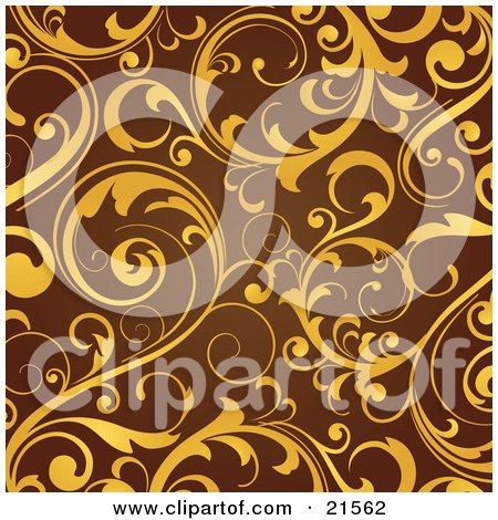 Clipart Illustration of Elegant Yellow Leaves And Vines Scrolling Over A Brown Background by OnFocusMedia