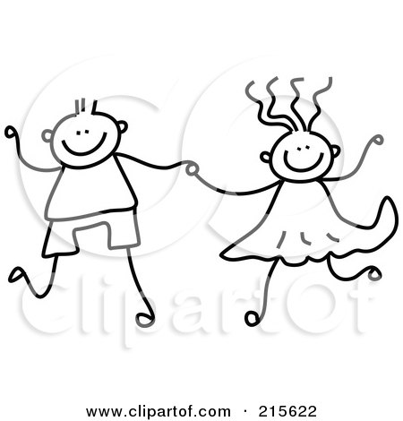 Royalty-Free (RF) Clipart Illustration of a Childs Sketch Of A Black And White Boy And Girl Holding Hands by Prawny
