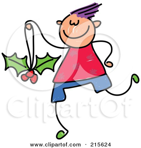Royalty-Free (RF) Clipart Illustration of a Childs Sketch Of A Boy With A Holly Ornament by Prawny