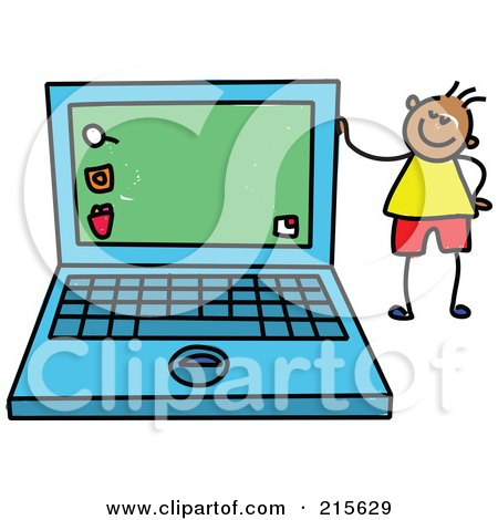 Royalty-Free (RF) Clipart Illustration of a Childs Sketch Of A Boy Standing By A Laptop by Prawny