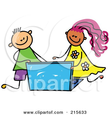 Royalty-Free (RF) Clipart Illustration of a Childs Sketch Of A Boy And Girl Using A Laptop by Prawny