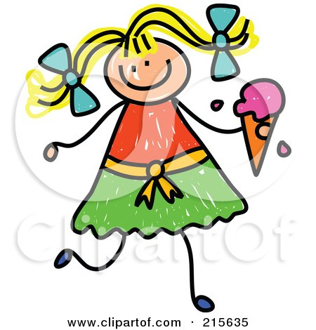 Royalty-Free (RF) Clipart Illustration of a Childs Sketch Of A Blond Girl Holding A Strawberry Waffle Cone by Prawny