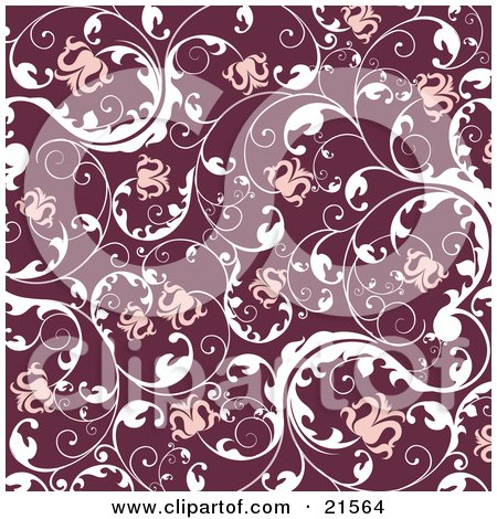 Clipart Illustration of a Floral Background Of Blooming Pink Flowers On Elegant White Vines Over Red by OnFocusMedia