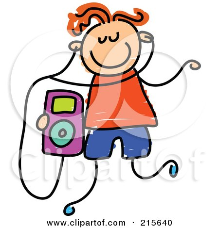 Royalty-Free (RF) Clipart Illustration of a Childs Sketch Of A Boy Listening To An Ipod by Prawny