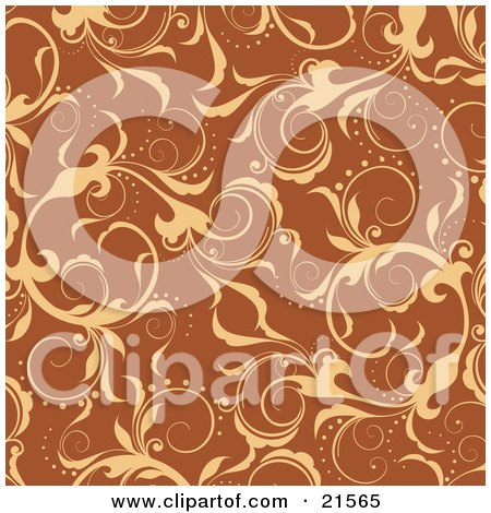 Clipart Illustration of Elegant Yellow Leafy Vines Scrolling Over An Orange Background by OnFocusMedia