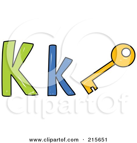 Royalty-Free (RF) Clipart Illustration of a Childs Sketch Of A Capital And Lowercase Letter K With A Key by Prawny