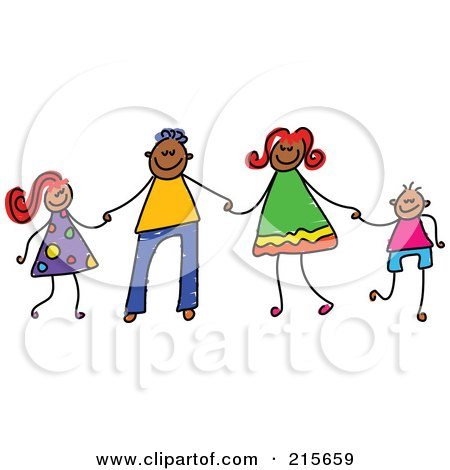 Royalty-Free (RF) Clipart Illustration of a Childs Sketch Of A Happy Black Family Holding Hands by Prawny
