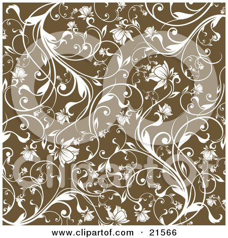 Clipart Illustration of a Floral Background Of White Vines And Blooming Flowers Over Brown by OnFocusMedia