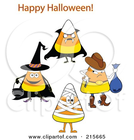 Royalty-Free (RF) Clipart Illustration of a Digital Collage Of Halloween Candy Corn In Costumes by erikalchan