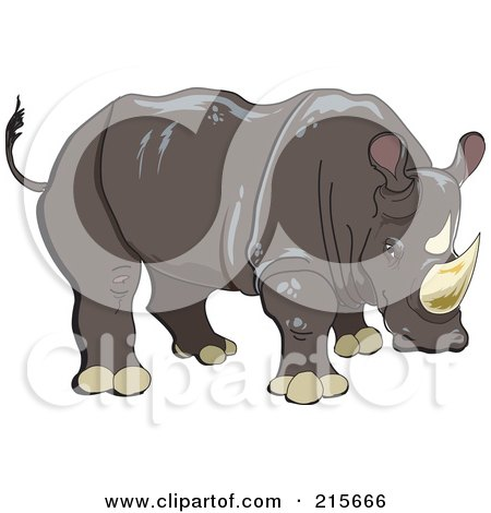Royalty-Free (RF) Clipart Illustration of a Brown Rhinoceros by erikalchan