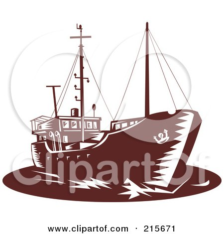 Royalty-Free (RF) Clipart Illustration of a Brown Retro Coastal Trader Ship by patrimonio