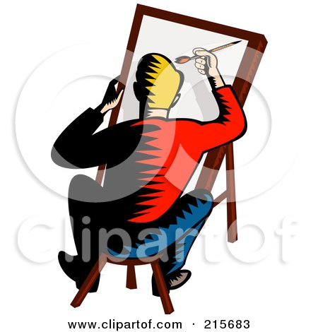 Royalty-Free (RF) Clipart Illustration of a Retro Artist Sitting On A Stool And Painting by patrimonio