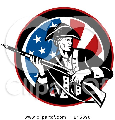Royalty-Free (RF) Clipart Illustration of a Revolutionary War Soldier Holding A Rifle Over An American Flag Circle by patrimonio