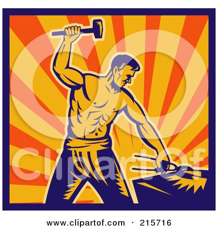 Retro Blacksmith Man Hammering Posters, Art Prints