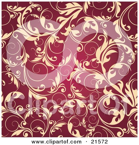 Clipart Illustration of Elegant Beige Leafy Vines Scrolling Over A Dark Red Background by OnFocusMedia