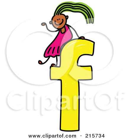 Royalty-Free (RF) Clipart Illustration of a Childs Sketch Of A Girl On Top Of A Lowercase Letter F by Prawny